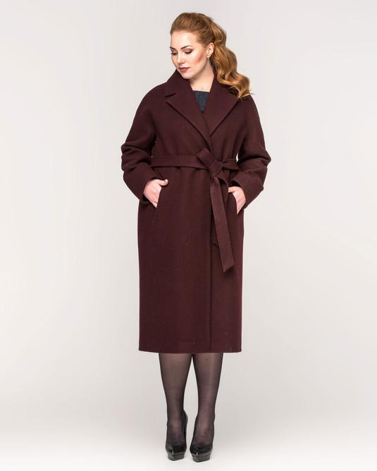 Пальто со спущенными рукавами вино