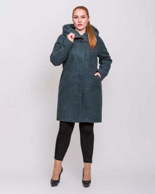 Пальто с капюшоном зеленое