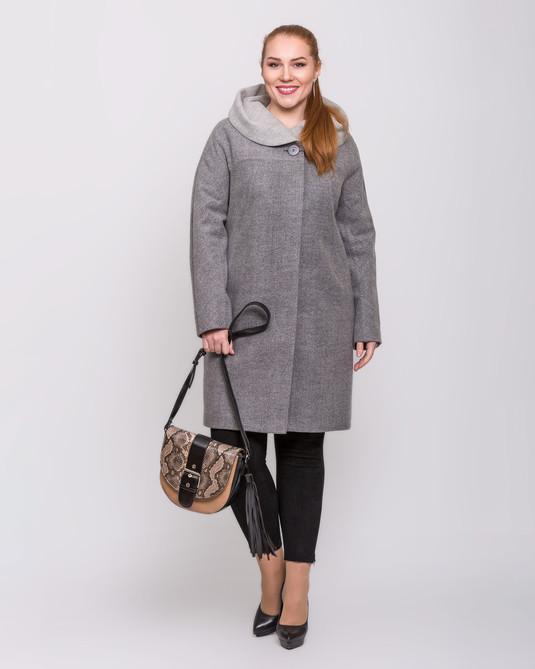 Пальто с капюшоном серое
