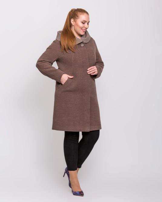Пальто с капюшоном шоколад с клеткой