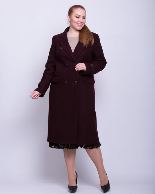 Пальто макси двубортное вино