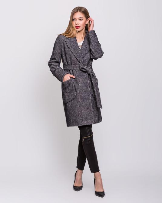 Пальто с накладными карманами синий