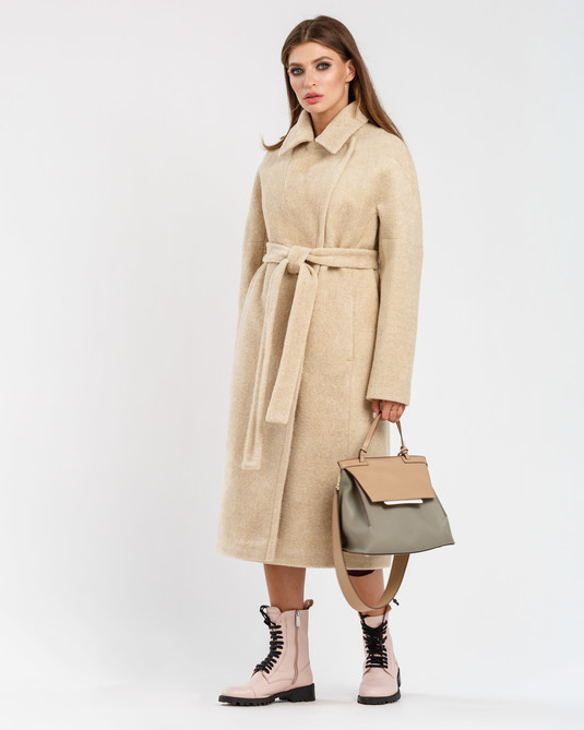 Пальто шерстяное бежевое