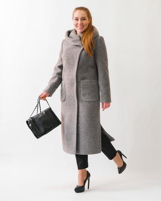 Пальто шерстяное с капюшоном серое