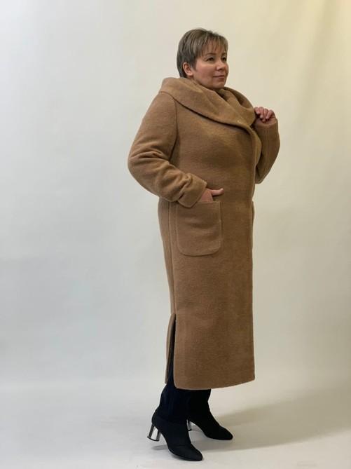 Пальто шерстяное с капюшоном кэмел