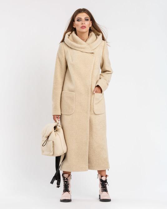 Пальто шерстяное с капюшоном бежевое
