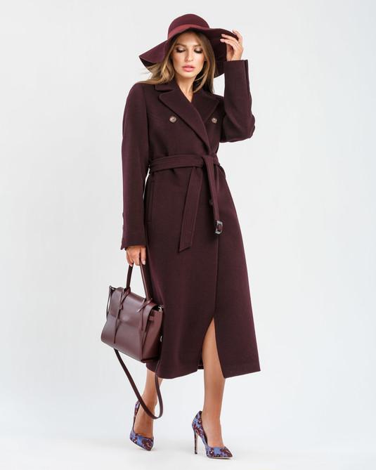 Пальто Макси классика марсала