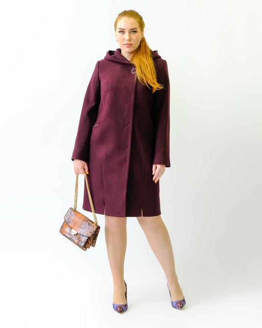 Пальто с капюшоном вино
