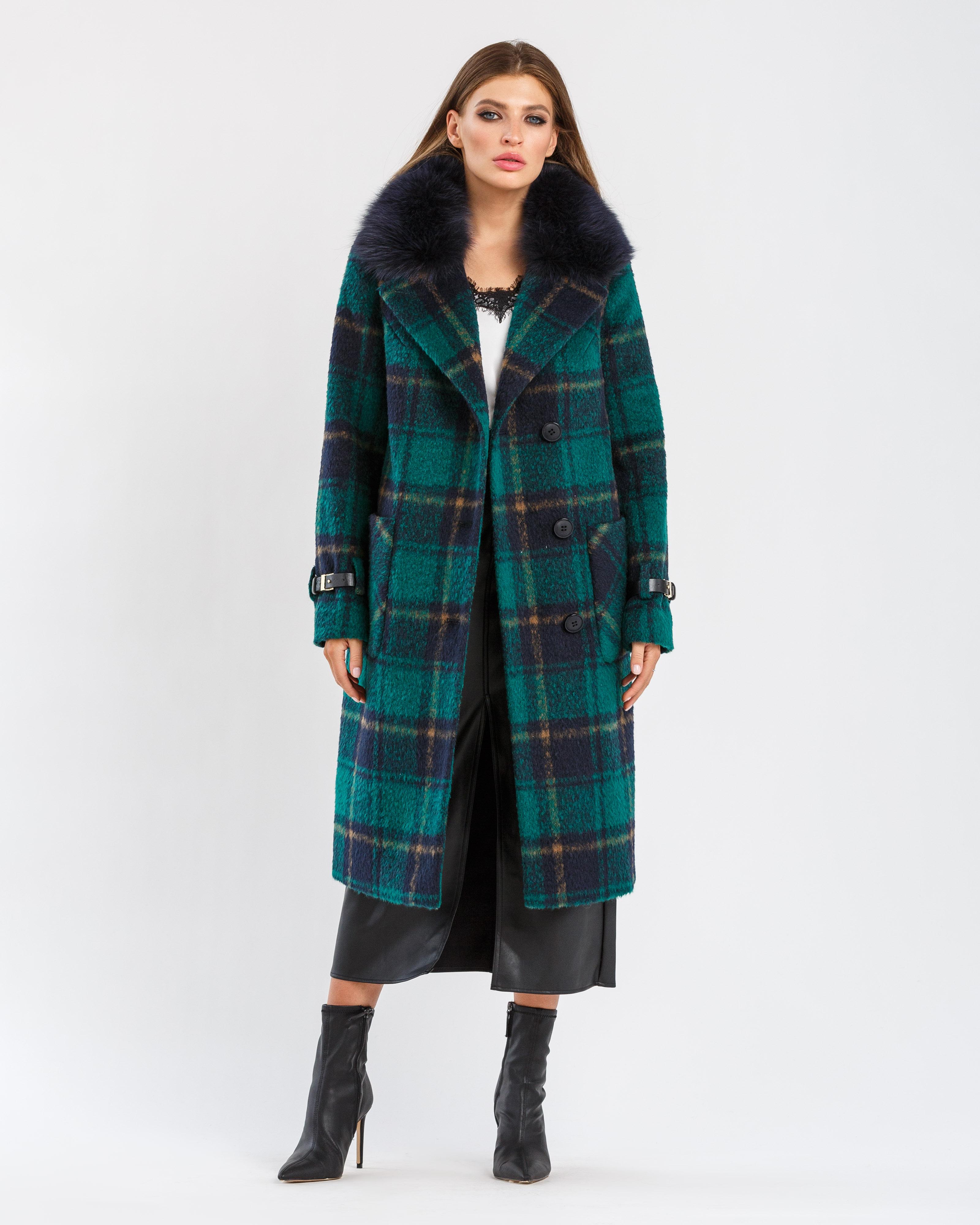 Зимнее пальто в клетку