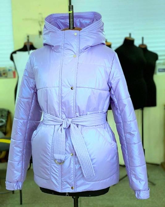Куртка с поясом лиловая