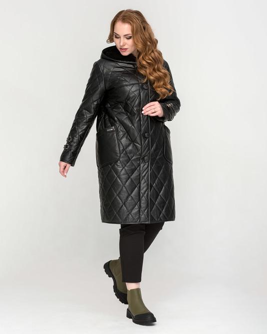 Кожанная куртка на пуговицах черная
