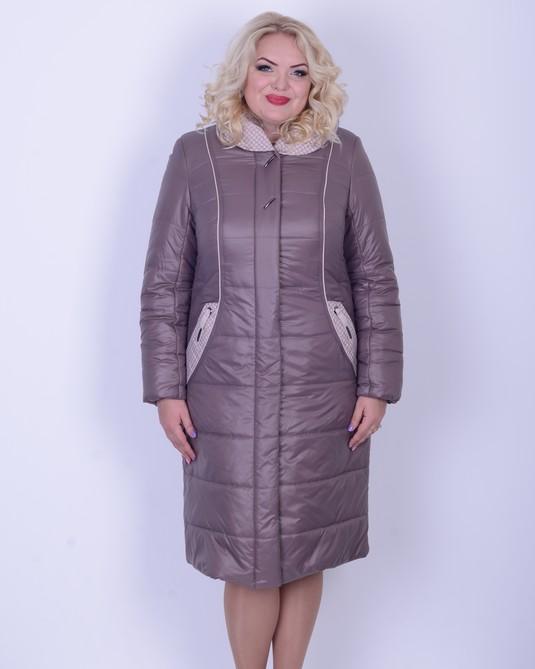 Зимнее плащевое пальто ботал темно-розовый