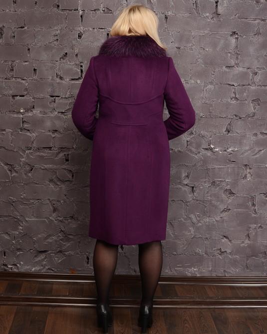 Зимнее пальто вышивка фиолет