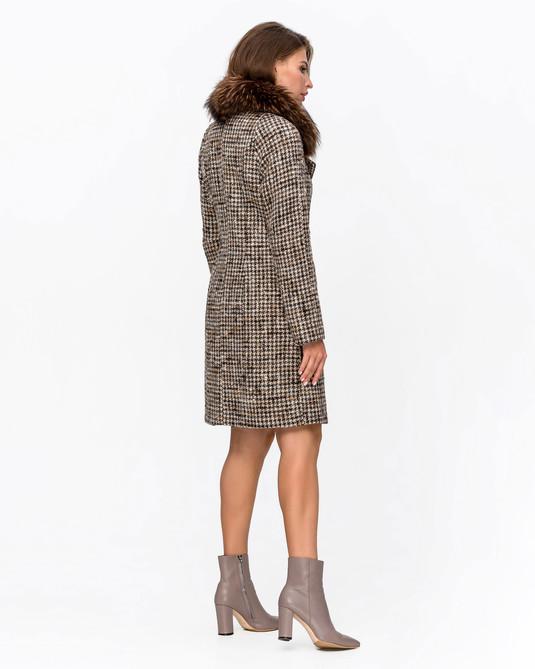 Зимнее пальто клетка коричневое