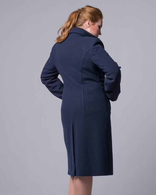 Пальто двубортный ворот синее