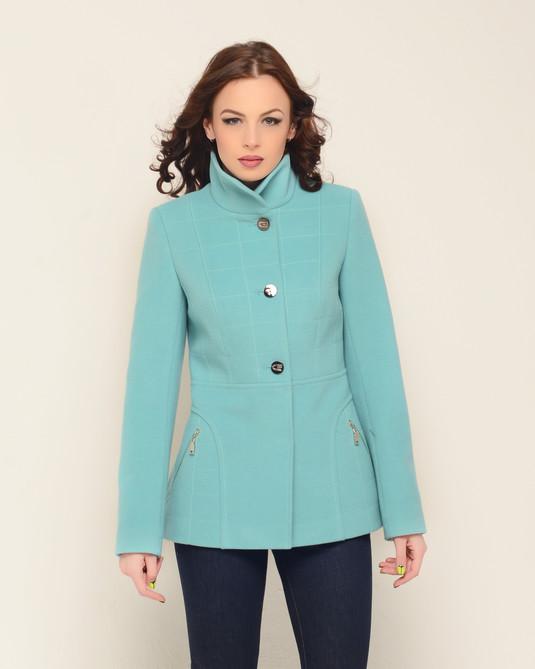Пальто короткое бирюза