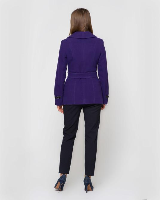 Пальто с кожей фиолет
