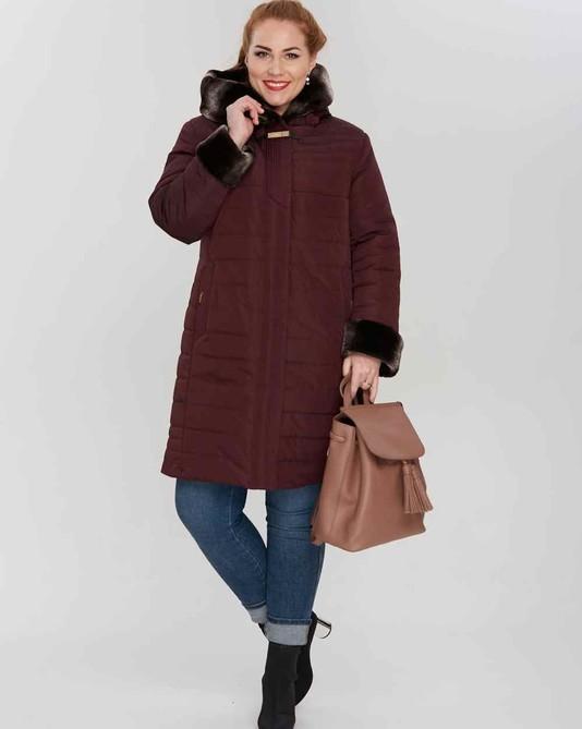 Куртка зимняя с капюшоном бордо