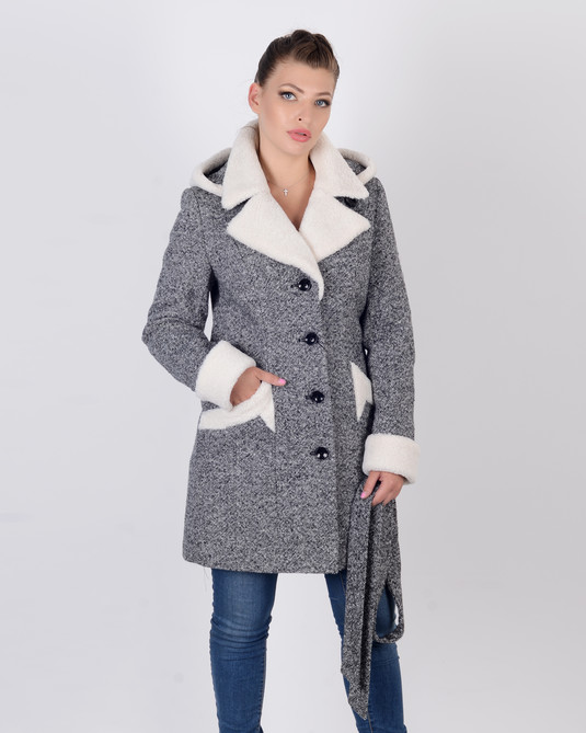 Пальто зимнее твид овчина