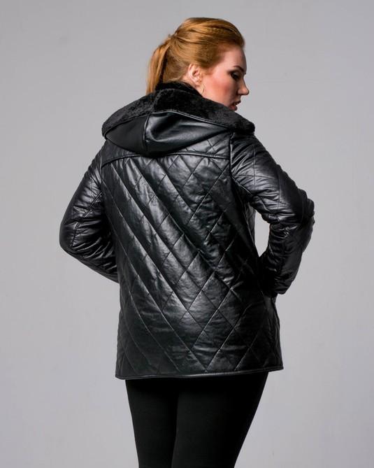 Кожанная курта утепленная черная