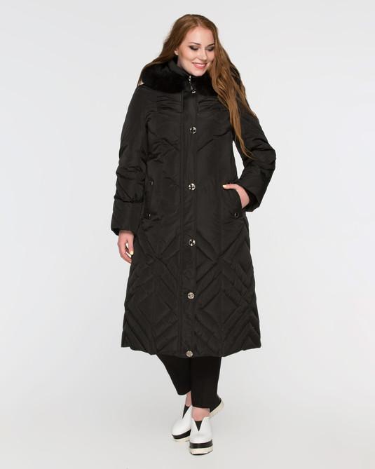 Длинное пальто на пуху черное