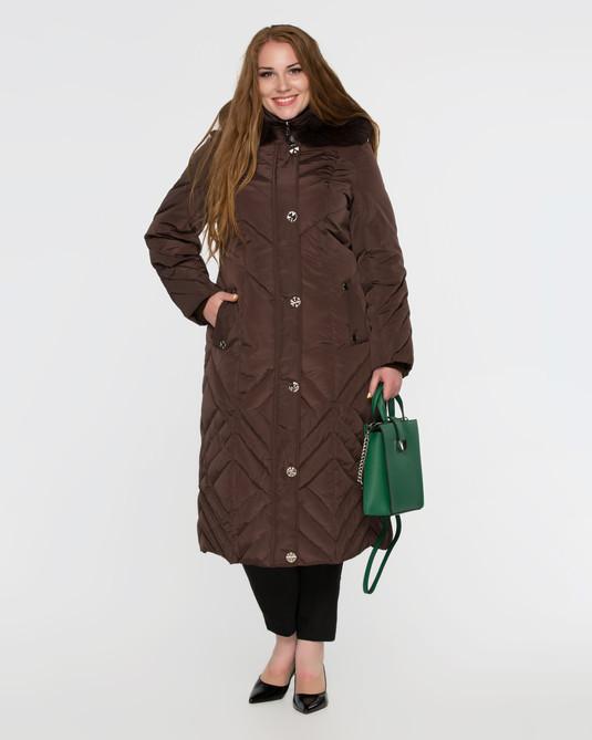 Длинное пальто на пуху коричневое