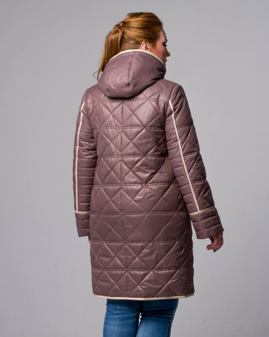 Куртка стеганная с капюшоном розовая
