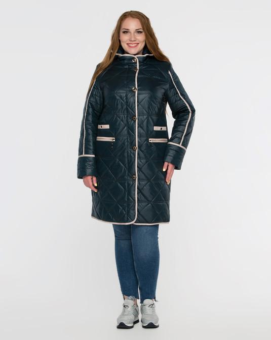 Куртка стеганная с капюшоном морская-волна