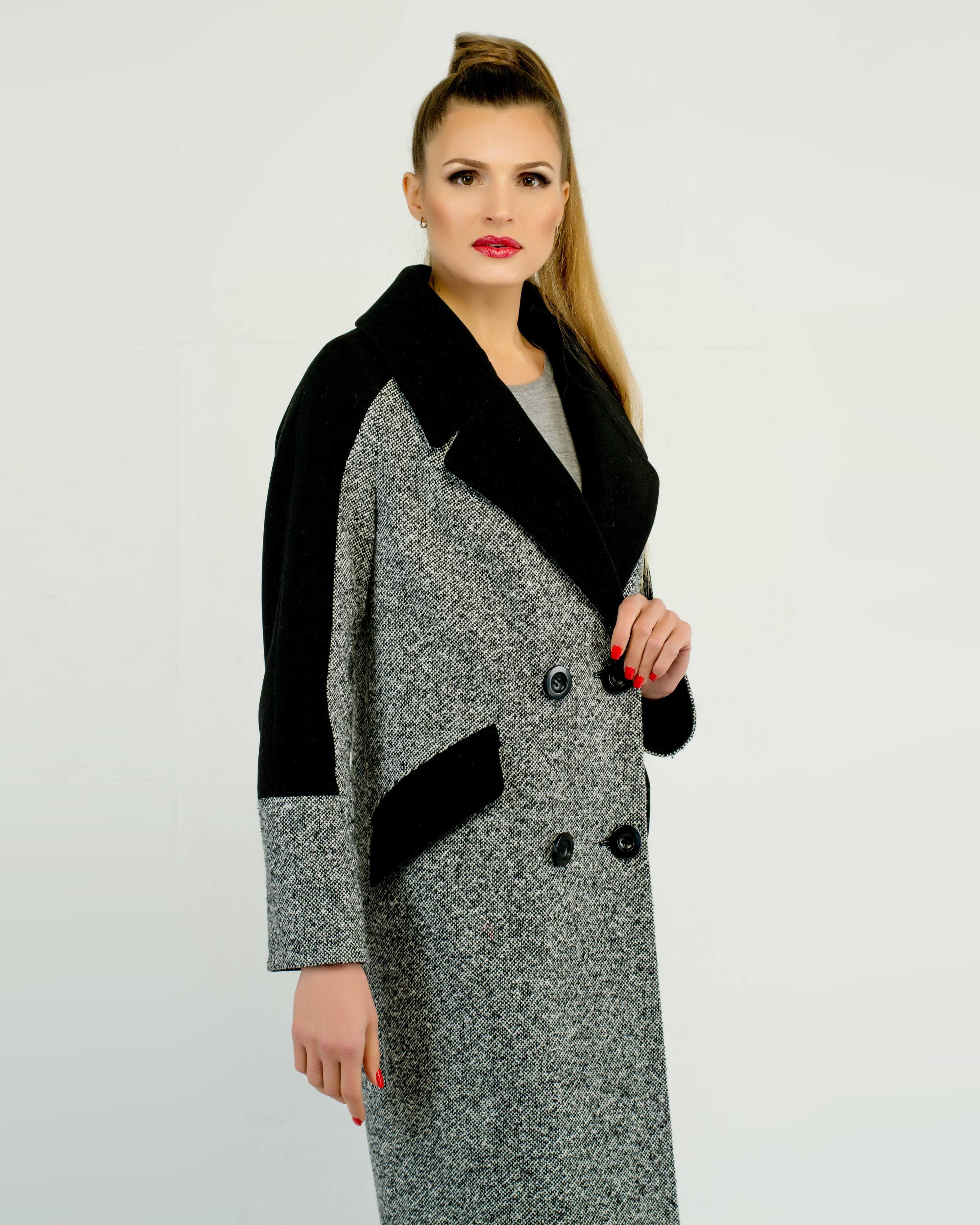 Пальто комбинированное с твидом