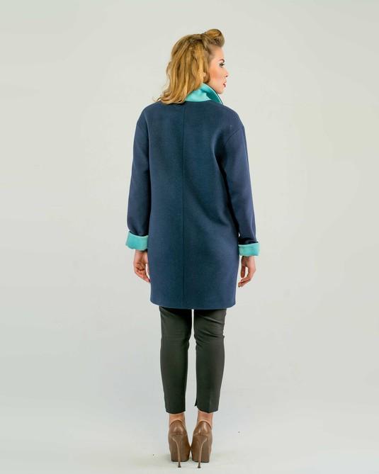 Пальто двухцветное синее