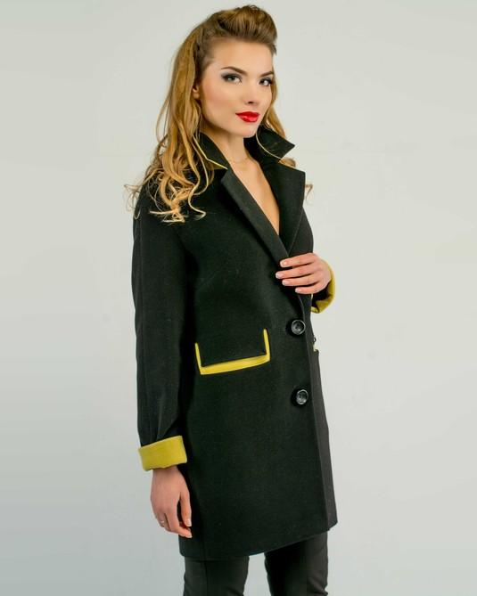 Пальто двухцветное черное