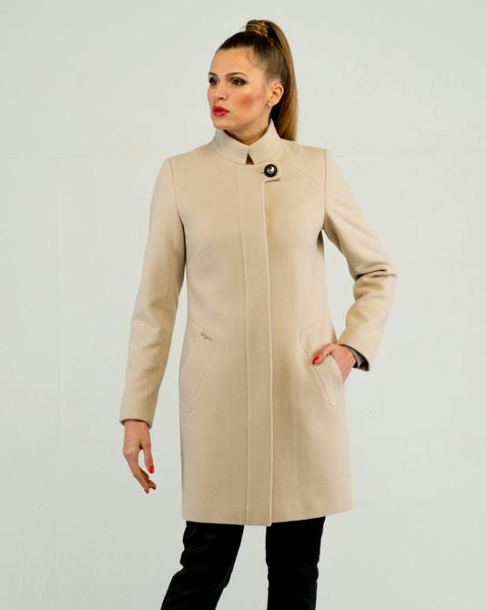 Пальто классика ворот стойка беж