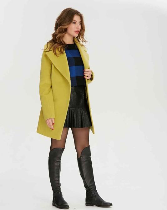 Пальто короткое двубортное лимон