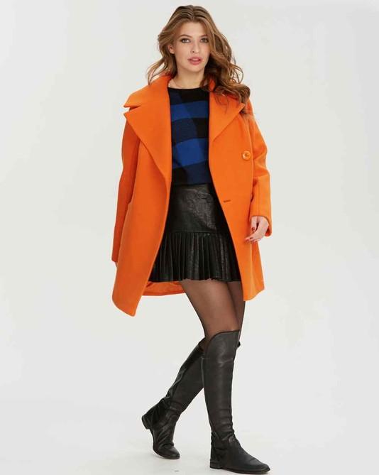 Пальто короткое двубортное оранж