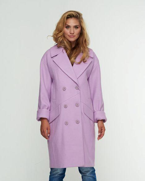 Пальто двуборт сирень