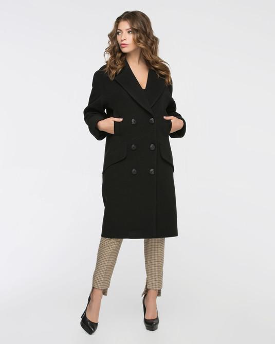 Пальто двуборт черное