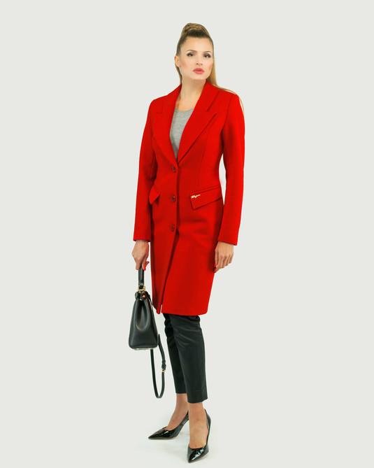 Пальто приталенное классика красное