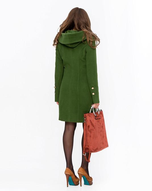 Пальто молодежное с капюшоном зеленый