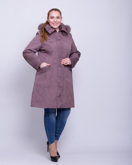Стеганная зимняя куртка розе