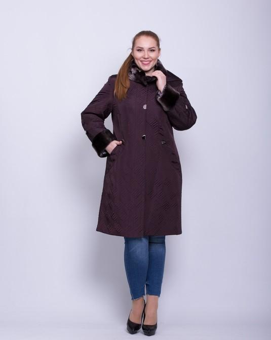 Зимняя куртка с искусственным мехом вино