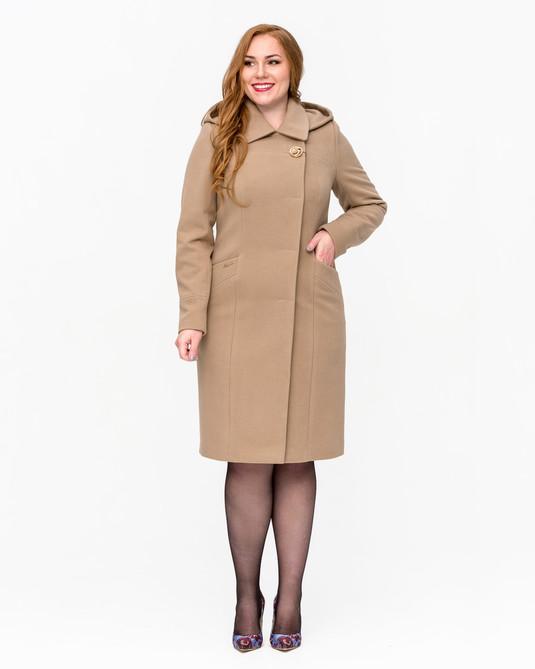 Пальто строгое с капюшоном беж