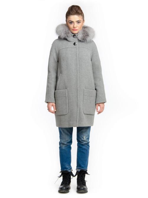 Пальто-парка шерстяное серое