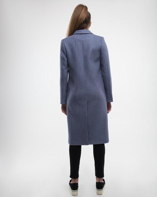 Пальто Макси с брошками серое