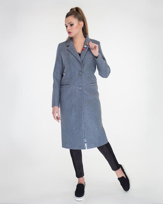 Пальто Макси с брошками джинс