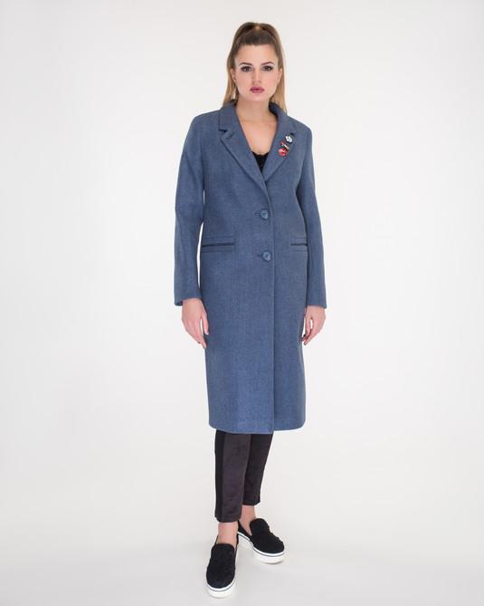 Пальто Макси с брошками синее