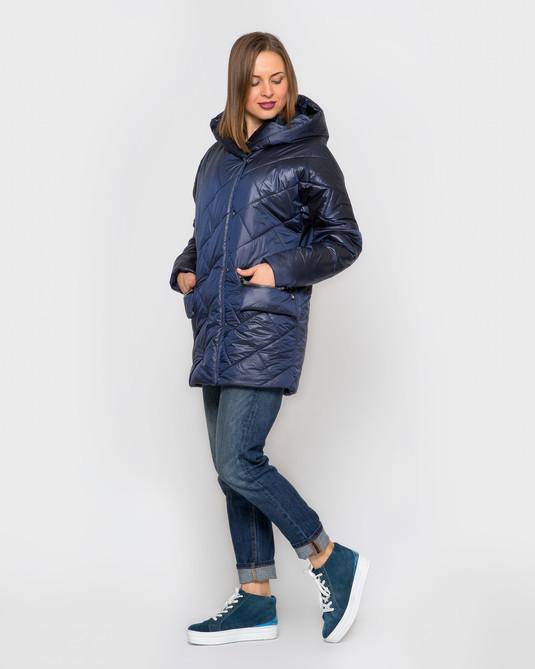 Куртка атлас с капюшоном синий