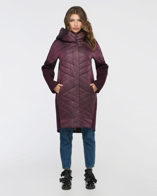 Комбинированное пальто темно-лиловый