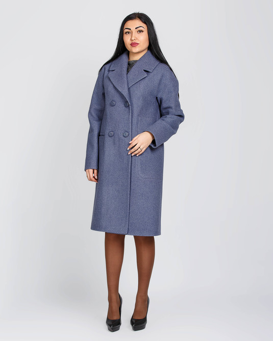 Пальто классика синий меланж