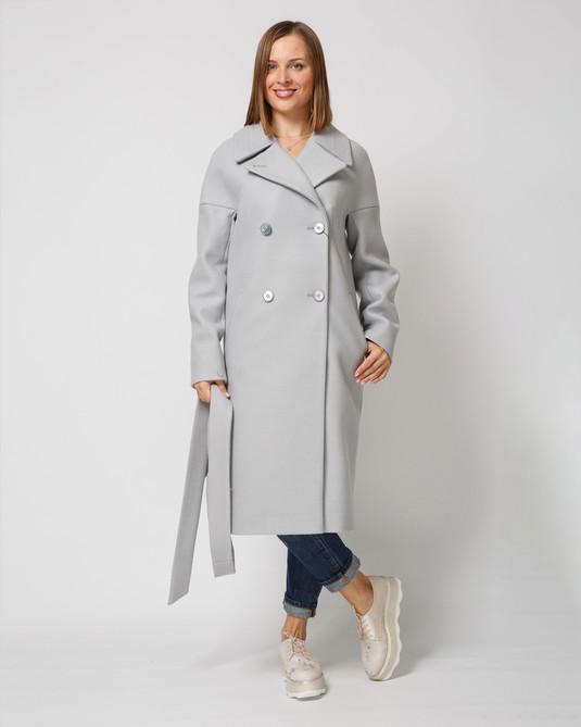 Пальто двубортное светло-серое