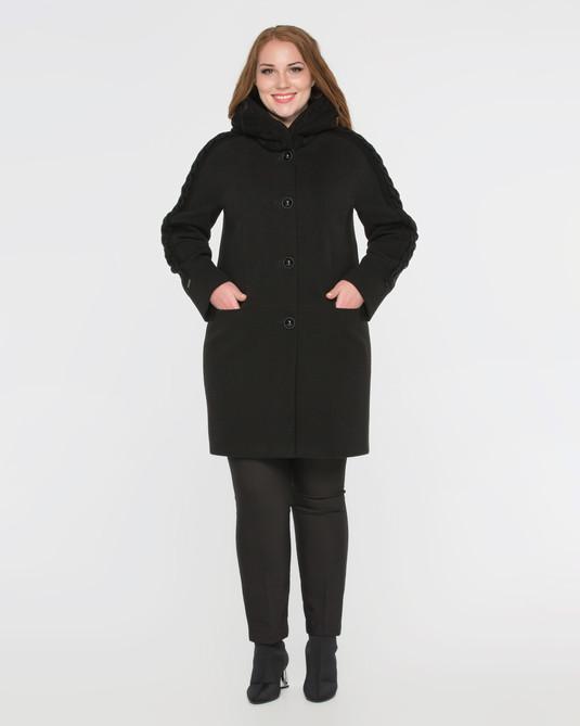 Пальто  с трикотажем черное